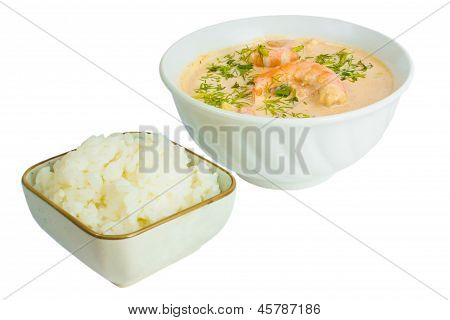 soup food shrimp rice plate isolated white background clipping p