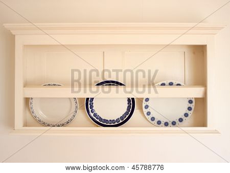 Old Plateholder With Three Plates In Summerhouse In Denmark