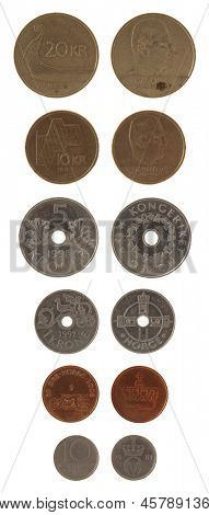 Norwegian krone coins isolated on white