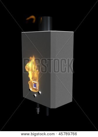 Gas Boiler With Flame On A Black Background