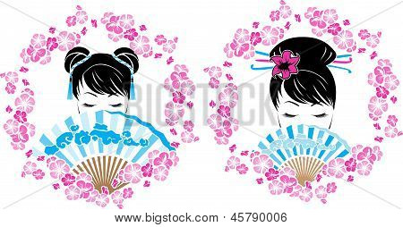 Sakura wreath with a portrait of Asian girl