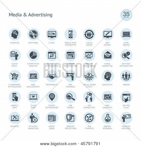 Set of media and advertising icons poster