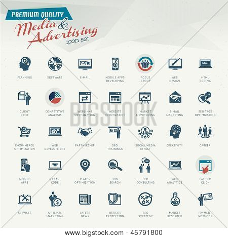 Media and advertising icon set
