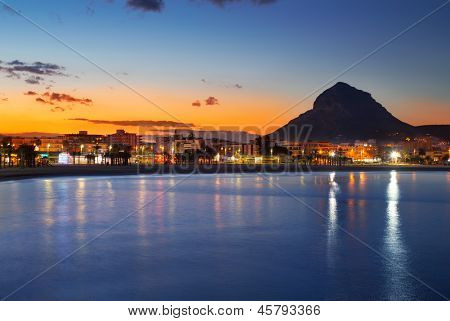Alicante Javea sunset beach cityscape night view