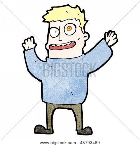 cartoon hallucinating man
