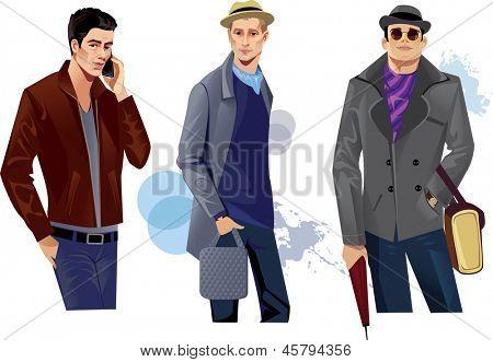 fashionable men in coat