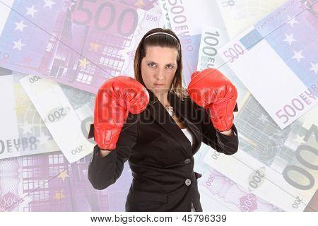 Retrato de una joven Empresaria con guantes de boxeo