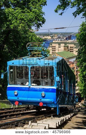 Funicular Trains Moving On The Hill