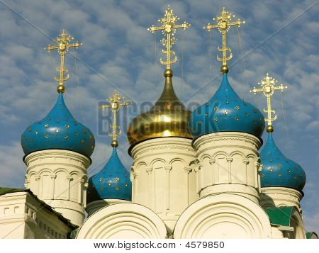 The Beautiful Russian Orthodox Church With Golden Cupolas, Nizniy Novgorod