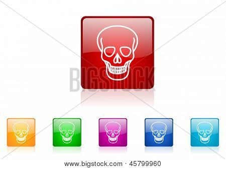 skull square web glossy icon colorful set