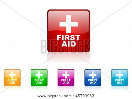 first aid square web glossy icon colorful set