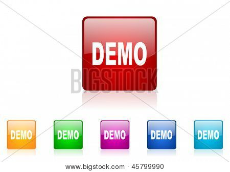 demo square web glossy icon colorful set