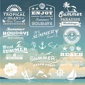 stock photo of shells  - Vintage summer typography design with labels - JPG