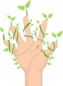 Illustration of a Hand with Climbing Leaf Vines