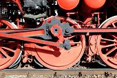 Steam locomotive wheels and rods