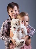 Happy kids holding their new pet - a small fluffy dog
