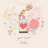 Abstract romantic card in pastel colors. Bright background with bird, cage, flowers and clouds. Free
