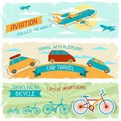 image of aeroplane  - Set of horizontal travel banners in retro style - JPG