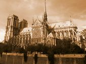 image of notre dame  - Picture of Notre Dame the sky line has been edited to give a dark feel - JPG