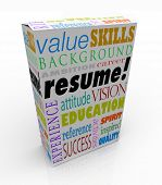 image of candid  - A resume on a unique product or box to present you in an interview as the best candidate to be hired for a job - JPG
