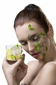 Sensual Girl With Mojito And Creative Make-up