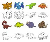 picture of prehistoric animal  - A set of cartoon prehistoric animal and dinosaur illustrations - JPG