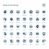 stock photo of e-business  - Set of vector icons for media and advertising - JPG