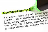 foto of productivity  - Definition of the word Competency highlighted with green marker - JPG