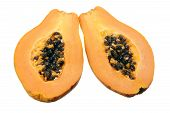 picture of pawpaw  - Papaya Cut in Halves on White Background - JPG