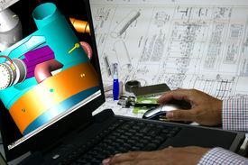 image of mechanical engineer  - Mechanical engineer designing a pressure vessel - JPG