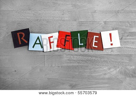 Raffle Sign For Tobolas, Lottery, Fetes and Shows
