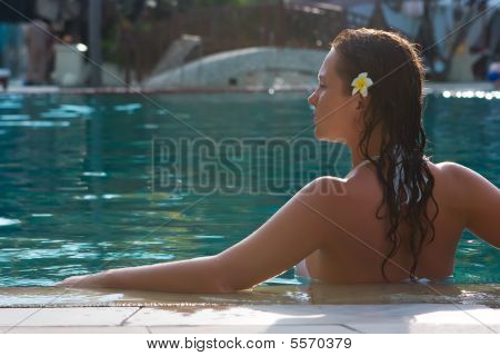 Brunette Girl In The Pool