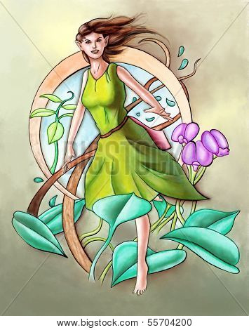 Cute green fairy. Hand painted illustration.