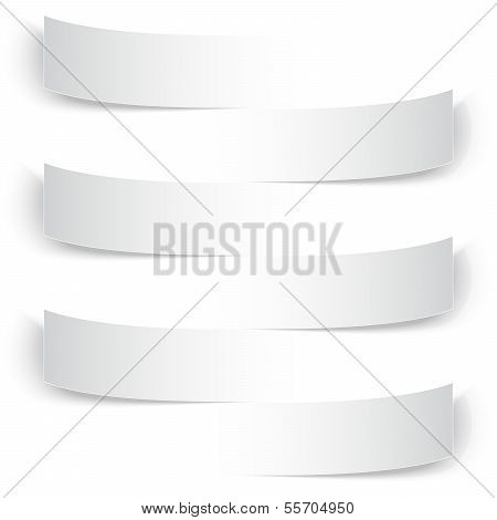 Blank paper banners with shadows background