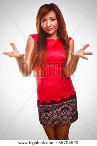 angry dissatisfied young woman haired girl emotion isolated on w