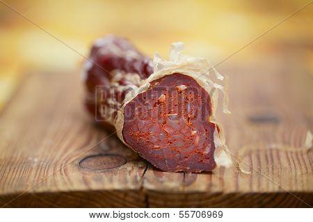 spanish fine jamon chorizo sausage, shallow dof
