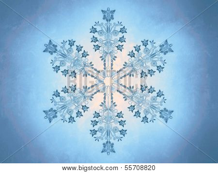 Outlined representation of a snowflake on a blue background