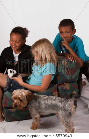 Boy Trying To Sneak Up On Sister And Firend
