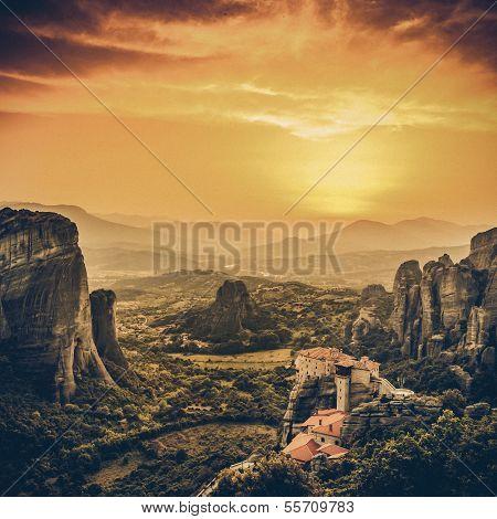 Meteora Roussanou Monastery At Sunset, Vintage