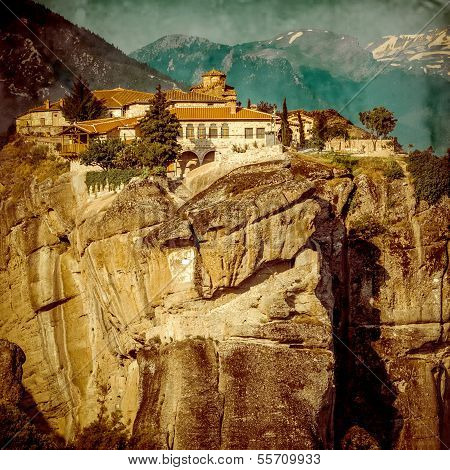 The Monastery Of The Holy Trinity (1475), Meteora, Vintage Greece