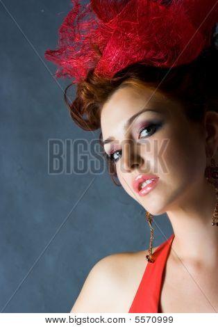 Beautiful Red Fashion Model