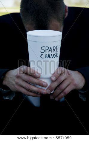 Businessman Begging For Spare Change