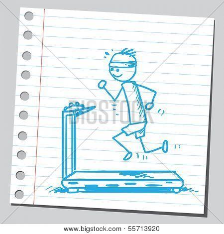 Jogger on treadmill