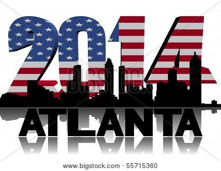 Atlanta skyline with 2014 American flag text illustration