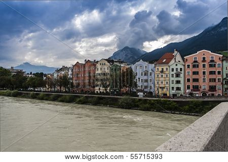 St. Nicholas In Innsbruck, In The Foreground Of The Inn
