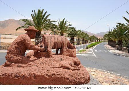 Sculpture In Town Pajara, Canary Island Fuerteventura