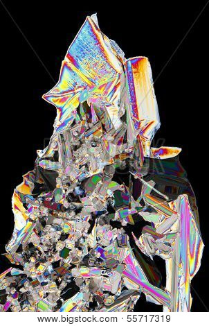 Microscopic View Of Potassium Nitrate Crystals In Polarized Light