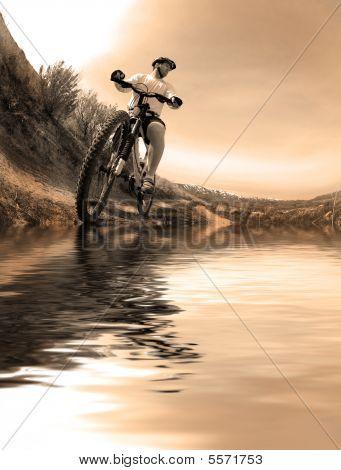 Reflexão de bicicleta de montanha