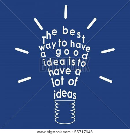 Light Bulb With A Quote. Vector