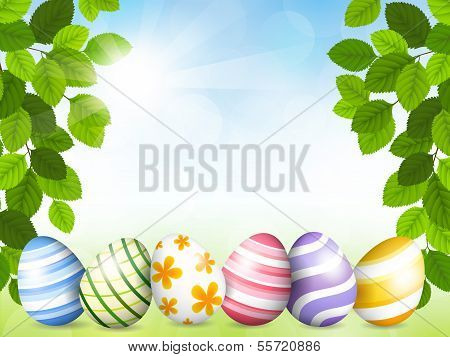 Card By Easter With Beautiful Eggs